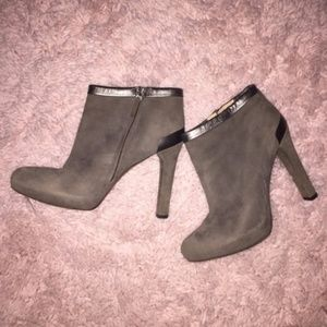 Fendi Suede Metallic Trim Ankle Boots